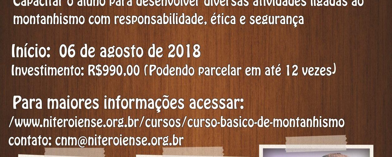 Encontram-se abertas as inscrições para o Curso Básico de Montanhismo 2018
